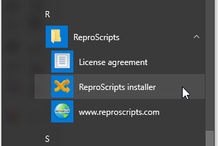 ReproScripts in windows start menu