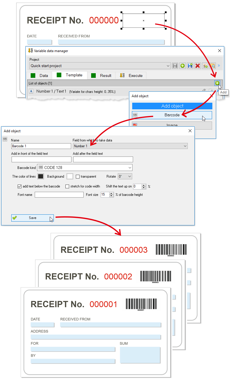 Variable barcodes in CorelDraw