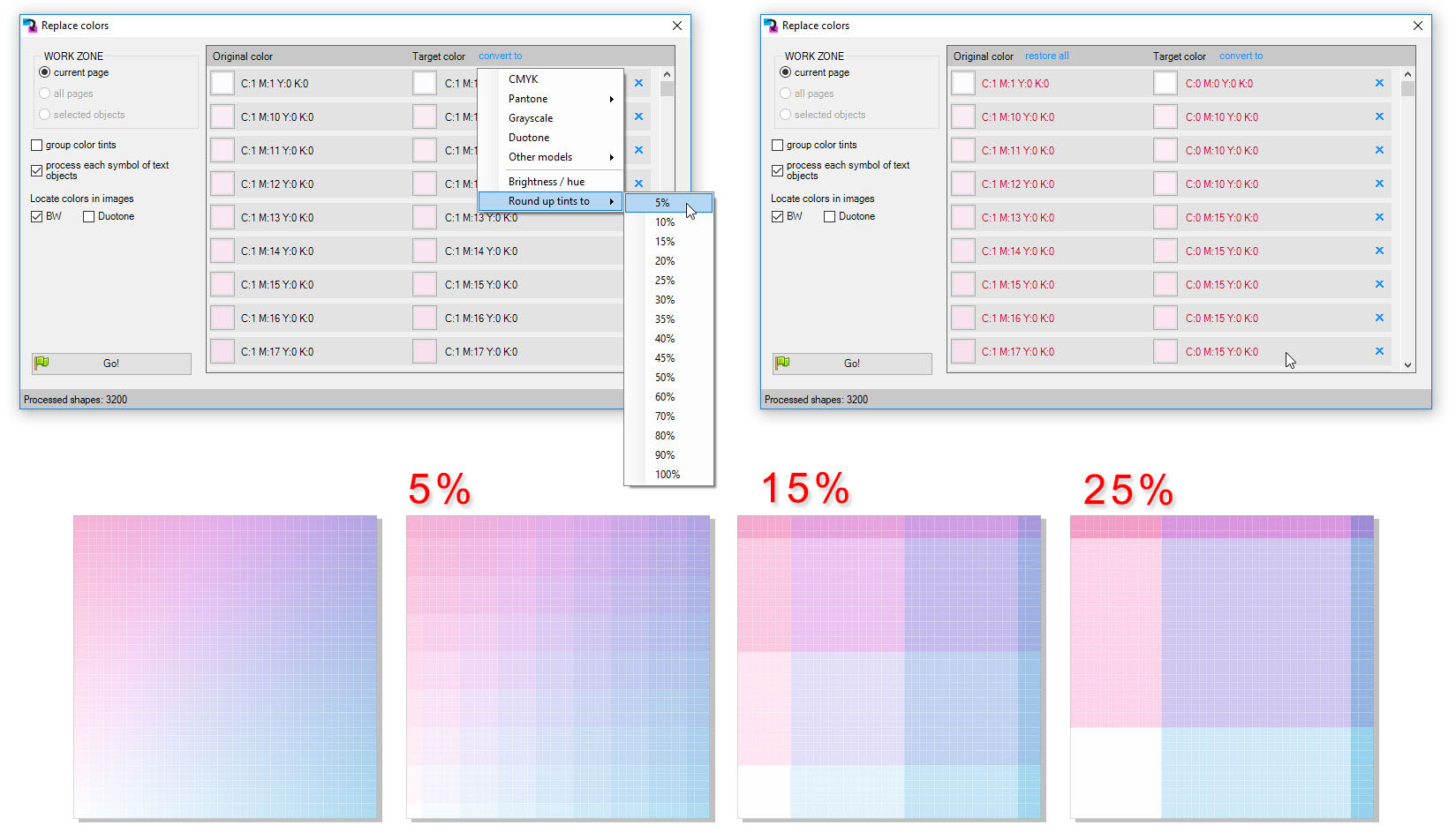 ReproScripts Core Replace colors plugin ~ roundup tints in colors