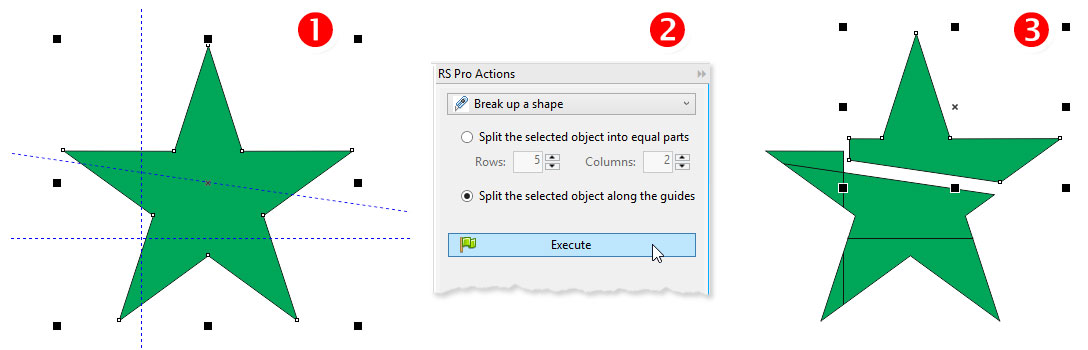 ReproScripts Pro Actions - shapes split along guidelines