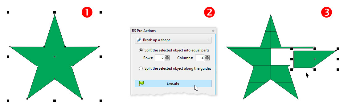 ReproScripts Pro Actions - tabular shapes split