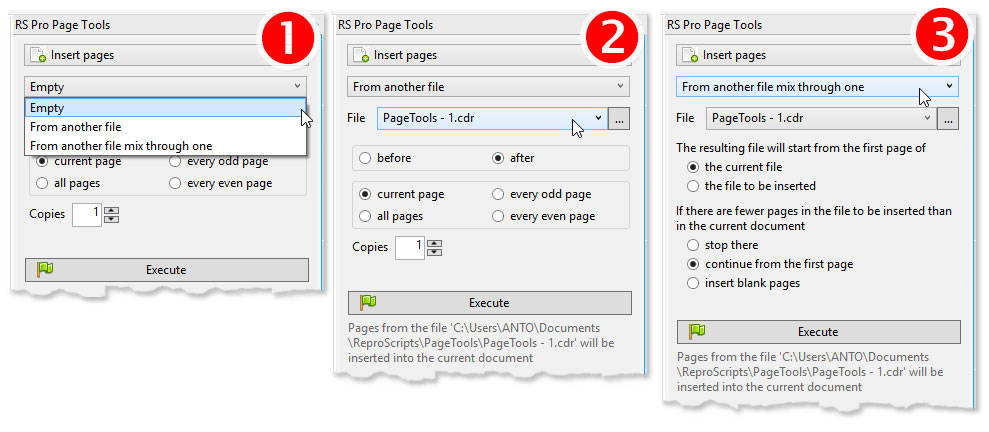 ReproScripts Pro Page Tools - inserting pages