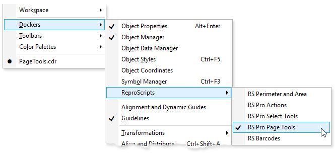ReproScripts Pro Page Tools Docker in CorelDraw menu