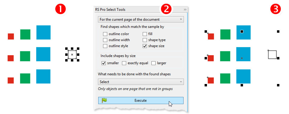 ReproScripts Pro Search - find objects by the size of a sample shape