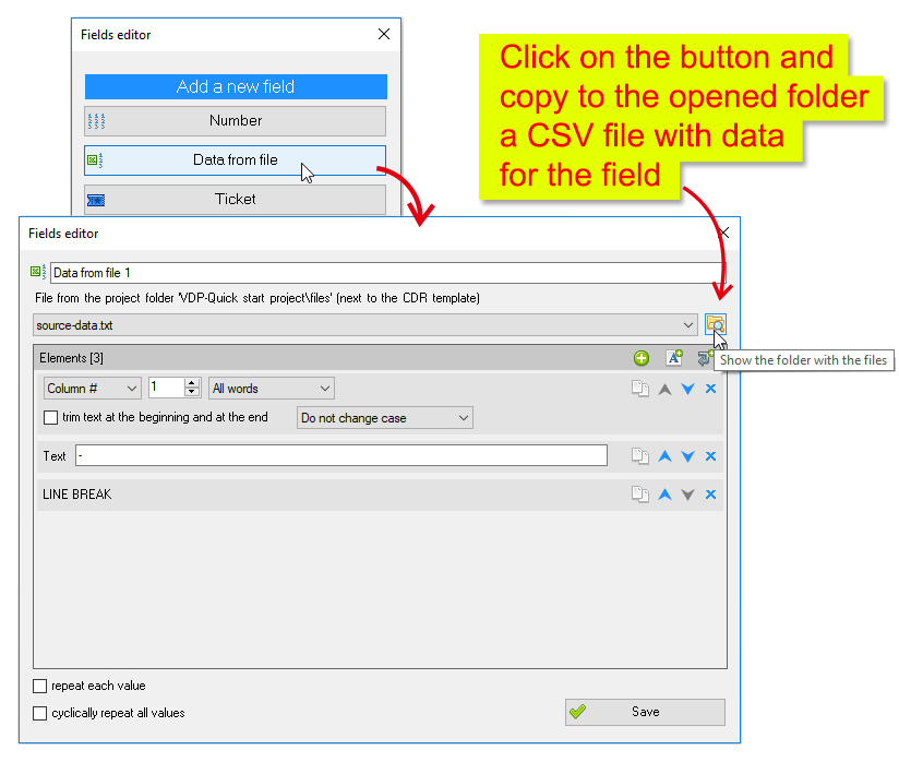 ReproScripts Variable data manager ~ data from a CSV file