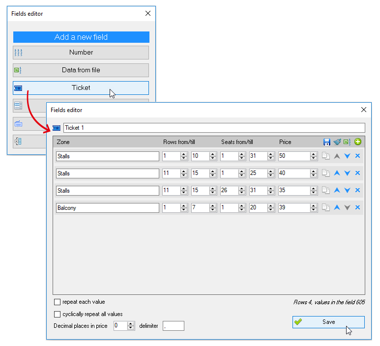 ReproScripts Variable data manager ~ numbering tickets