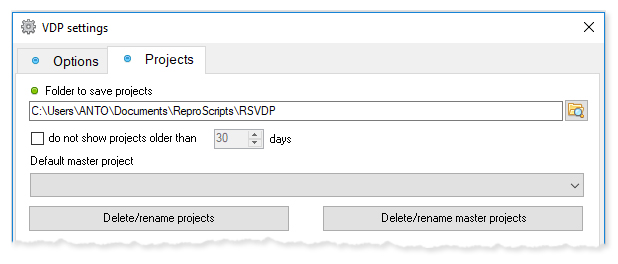 ReproScripts Variable data manager ~ project manager settings